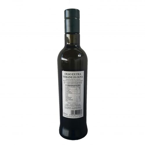Bottle 0,500 liter Piandisco Extra virgin Olive Oil 100% Made in Italy - Back