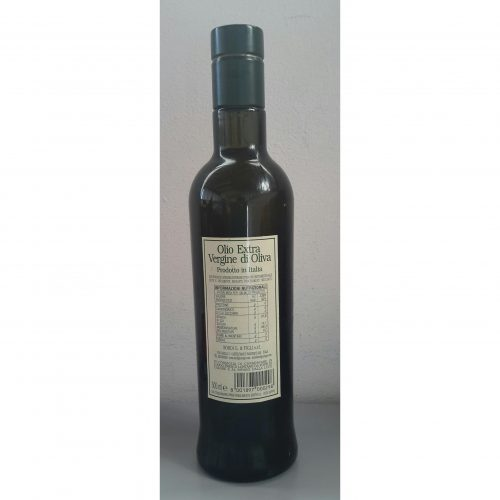 Back label - Bottle 0,500 liter SantOliva Extra Virgin Olive Oil